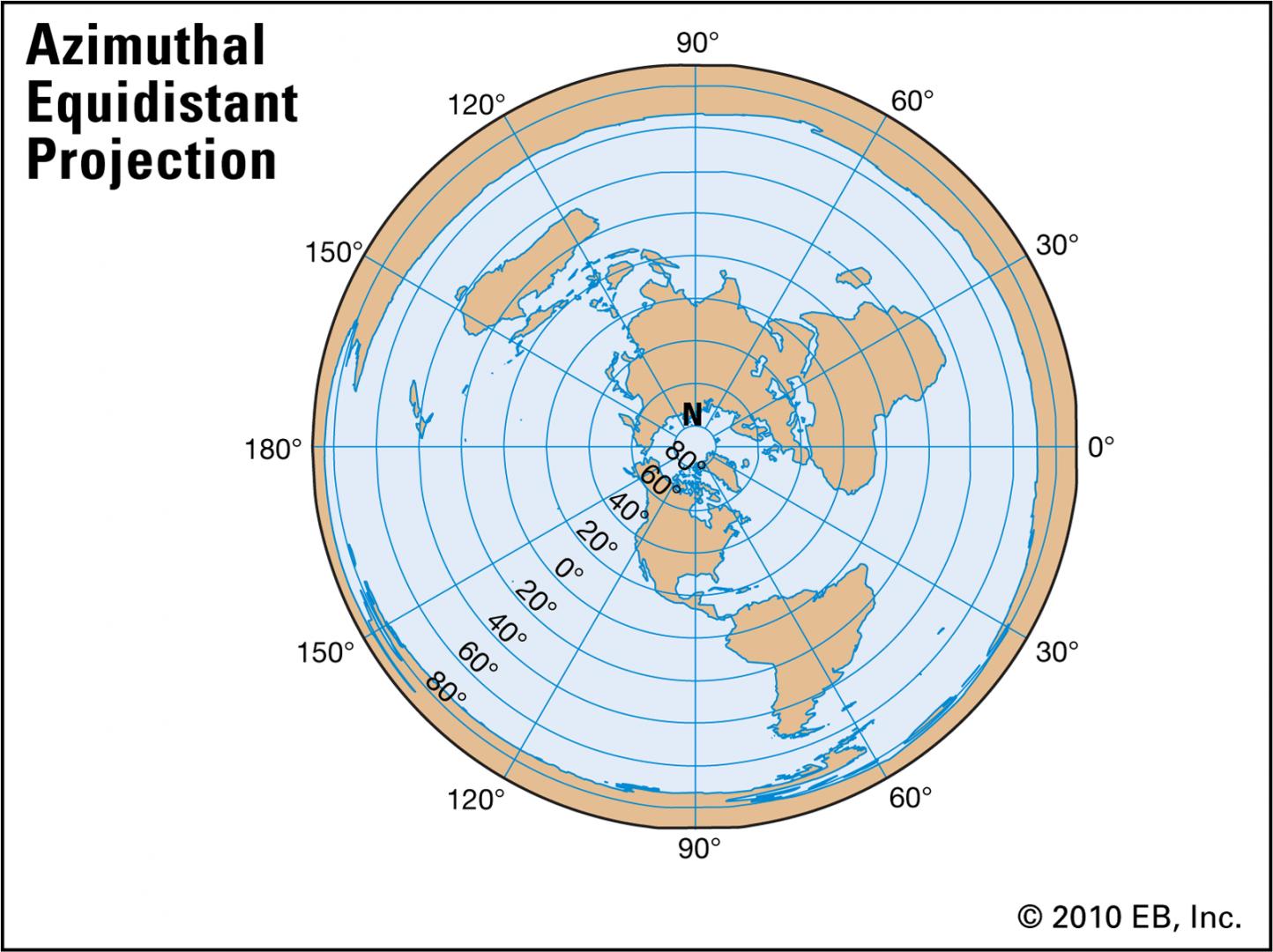 .Полярна азимутална равноотдалечена проекция -Плоската Земя - СТАМАТ