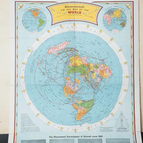 0419.Карта на Света на Хамънд от Въздухоплавателната Ера – 1953 г. - Плоската Земя - СТАМАТ