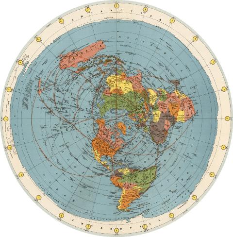 0420.Карта на Света на Хамънд от Въздухоплавателната Ера – 1953 - Плоската Земя - СТАМАТ