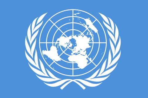 0424.Приетият на 7-ми Дек. 1946 год. официален Флаг на ООН, картата е завъртяна на 90° Западно - Плоската Земя - СТАМАТ