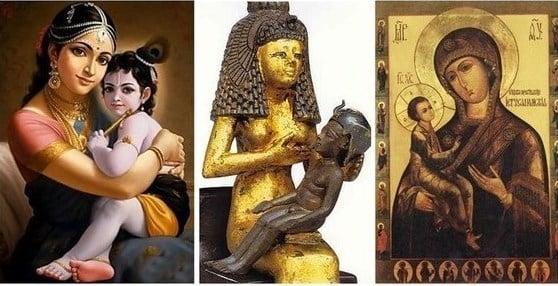 Яшода и Кришна преди 5200 г., Изида и Хор преди 4000 г. и Дева Мария и Христос преди 2000 г. - Плоската Земя - СТАМАТ