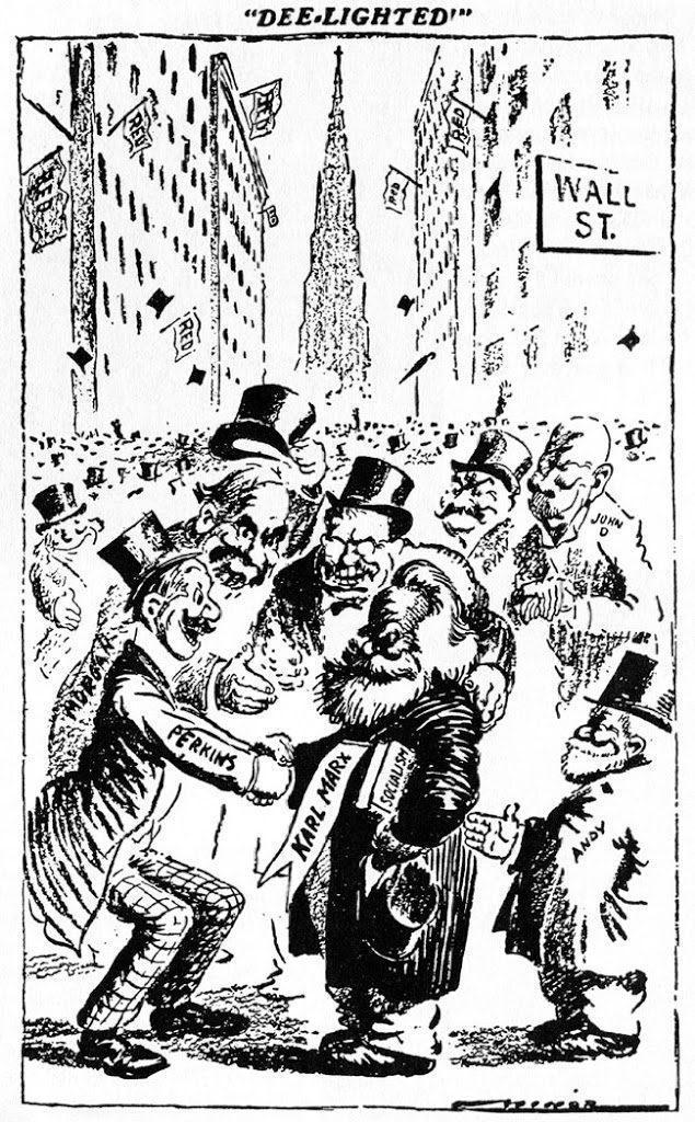 Робърт Майнър изобразява финансистите на Комунизма - Джон П. Морган, Джордж Пъркинс, Джон Райън от Нешънъл Сити Банк, Джон Рокфелер, Андрю Карнеги, Теди Рузвелт - Плоската Земя - СТАМАТ
