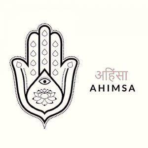 """Ахимса означава """"не наранявай"""", """"ненасилие"""", """"състрадание"""" и е една от осемте най-висши добродетели в Древните Индуистки философии."""
